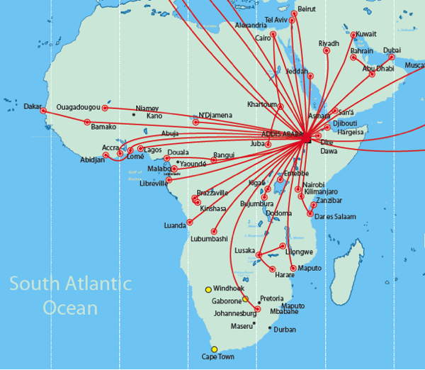 Ethiopian airlines aims to become the largest carrier in africa by ethiopian airlines africa and middle east route map gumiabroncs Image collections