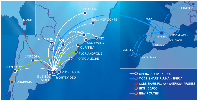 aerolineas argentinas route map Uruguay S Pluna Warns Of Collapse But Ceo S Missive May Be More aerolineas argentinas route map