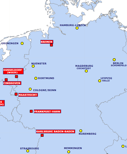 No Hamburgers Or Frankfurters But Ryanair Will Be Serving Germany - Germany map of airports
