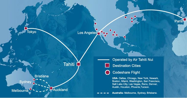 Air Tahiti Nui Plans Metal Neutral Alliance With Air France And - Airline flights map of france to us