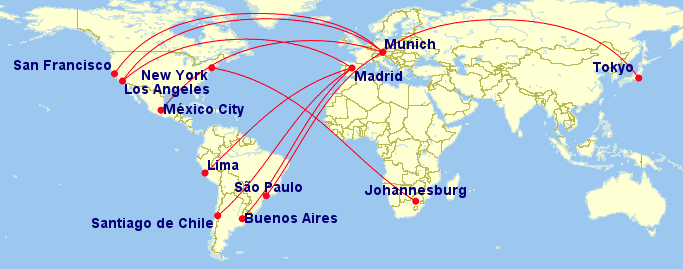 map of 10 longest a340 500600 routes 20 jul 2015 to 26 jul 2015