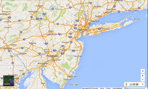 Locator Map For New York Philadelphia And Atlantic City