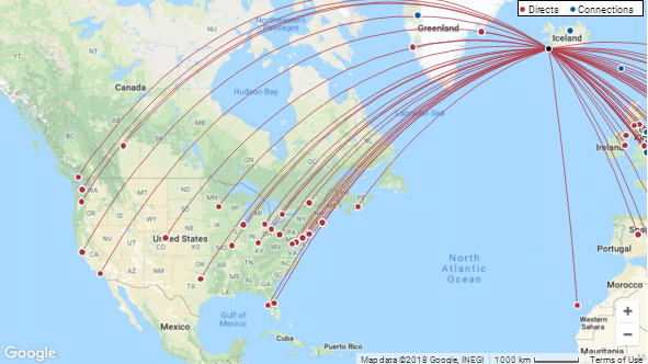 WOW air and Icelandair recreate a N Atlantic hub: UPDATE | CAPA Icelandic Air Route Map on airports map, airlines map, interjet route map, internet traffic map, transit world map, air service map, rail map, aeroflot route map, shipping map, china route map, afghanistan map, airasia route map, asia map, egyptair route map, westjet route map, cathay pacific route map, roads map, air products map, air route to europe, adoption map,